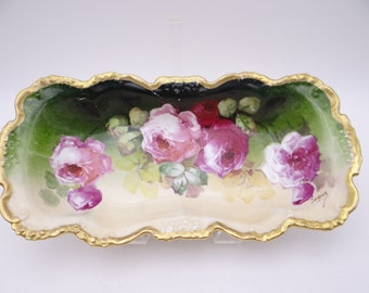 """1900s Vintage Spectacular Factory Hand Painted and Artist Signed """"Segur"""" Jean Pouyat Limoges France Serving Dish"""