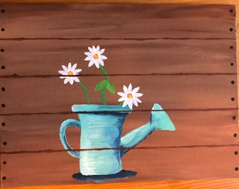 Watering can and daisies - acrylic painting