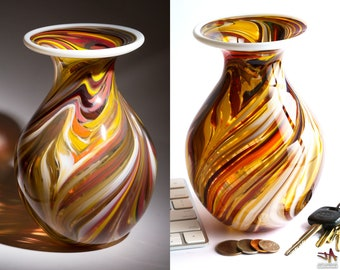 Hand Blown Glass Vase - Bulbous Shape with Stone and Fire Color Swirls