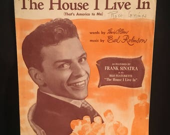 Original 1942 The House I Live In (That's America To Me) Vintage Antique Movie Piano Sheet Music Book Frank Sinatra, Rat Pack, (Poster)