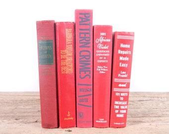 Orange Books / Old Books Vintage Books / Red Orange Decorative Books / Antique Books Vintage Mixed Book Set / Books by Color Books for Decor
