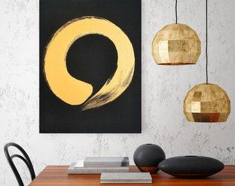 Black Gold Art Original Abstract Painting Gold Modern Minimalist Art Gold Painting Gold Abstract Art Japanese Art Zen Art Enso Zen Circle