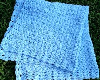 Hand crochet baby blanket, crochet baby afghan, baby boy blanket, blue baby blanket, light blue afghan, newborn boy blanket, crochet blanket