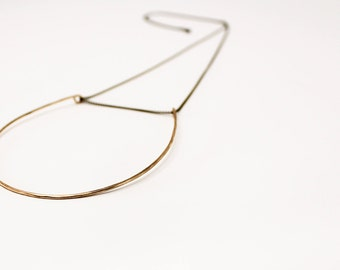 Sunset Hoop Necklace, Large Brass Hoop Necklace, Minimalist Long Layering Necklace