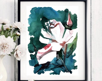 Digitale downloaden, Rose Art - originele aquarel schilderij