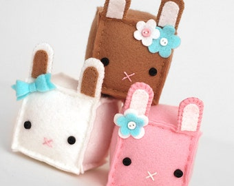 Square Bunny Plush, Brown, Pink or White Bunny Plushie