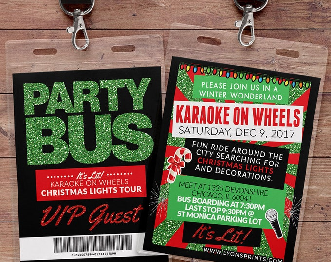 VIP PASS, Party Bus, Limo pass, Birthday invitation, Christmas party, Holiday party, karaoke, Ugly sweater, white elephant, holiday birthday