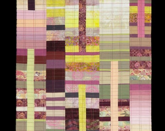 """Quilt Art, Art Quilt, Wallhanging. Rising #22 - Little Paris. 35""""H x 17""""W. Pieced and quilted in 100% cotton, hanging sleeve."""