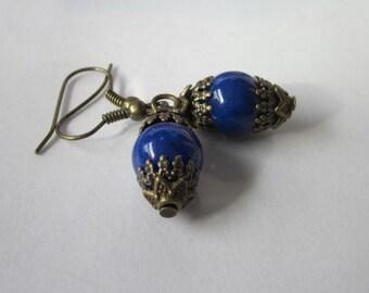 Lapis Lazuli Earrings, Lapis Dangle, Blue Stone Earrings, Small Lapis Earrings, Dark Blue Gemstone Jewelry