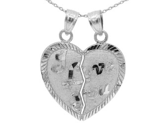 10k White Gold I Love You Heart Necklace