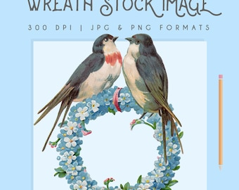 Vintage Floral Wreath Image Instant Download Digital printable picture clipart graphic transfer high resolution