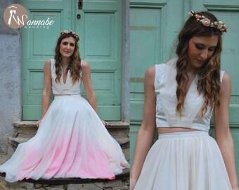 Boho chic wedding dress. Deep V neckline top, low back + ombre tulle skirt, ombre wedding dress, dip dyed wedding dress, bridal tulle skirt