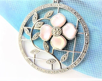 Mother of Pearl and Marcasite Necklace Sterling Silver