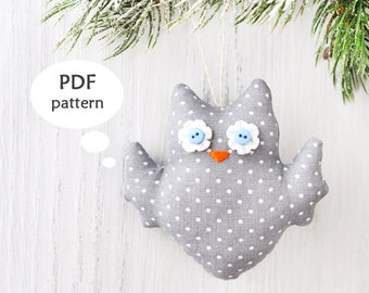 Owl Sewing Pattern. Stuffed Owl Pattern. Owl Christmas Ornament Pattern. Easy Christmas Sewing Project. Sewing Christmas Gift. For Christmas
