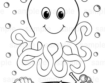 personalized printable octopus under the sea birthday party favor childrens kids coloring page activity pdf or - Under The Sea Coloring Pages
