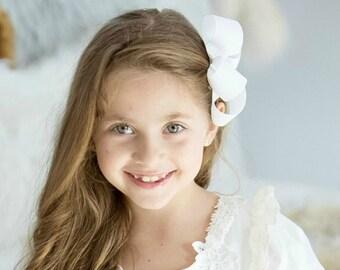"""White Large Hair Bow 4"""" Alligator Clip Girls Hairbow 4"""" White Hair Bow Large White Hair Bow Girl Hairbow White Girls Bow"""