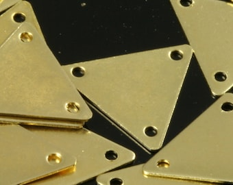 100 Pcs Raw Brass 12x14 mm Triangle tag Charms with 3 hole  ,Findings 620R-34