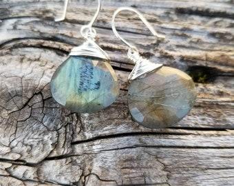 Sterling Silver Labradorite Briolette Drop Earrings