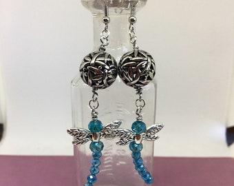 Dragonfly Earrings, Dragonfly, Crystal Earrings, Dragonfly Jewelry, Crystal Jewelry, Dangle Earrings