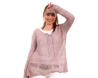 Summer Knit Loose Linen Sweater, Hand Knitted Sweater by Solandia, Dusty pink, long sleeve, summer fashion Beach Fashion women