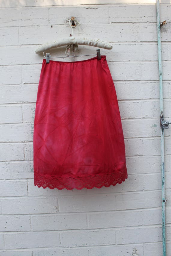 Red Slip Skirt/Cherry Red Vintage Skirt/Upcycled Clothing/Hippie Skirt/Lace Skirt/Upcycled Skirt/French Fairy/Bright red vintage slip  Skirt