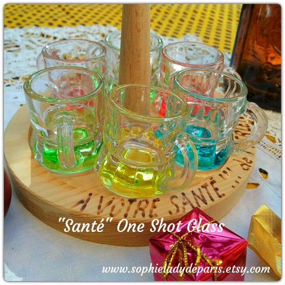 "One Glass Shot ""Santé"" 6 French One Shot Glasses Handled Small Beer Mug # giftforhim #christmas #sophieladydeparis"