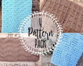4 Pack of Dishcloth Knitting Patterns- PDF Downloadable Knitting Pattern, Printable Knitting Pattern, Dishcloth Knitting Instructions