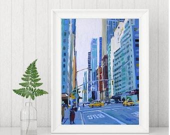 Blue City Painting, New York Art NYC skyline, Wall Decor Fine Art Print 8x10, Blue New York, blue buildings Painting by Gwen Meyerson