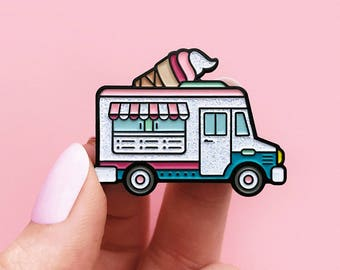 Ice cream truck, enamel pin, glitter