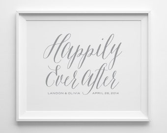 Husband Gift Wife Gift Personalized Couple Gift, Custom Engagement Gift, Gray Happily Ever After Typography Print Personalized Wedding Gift
