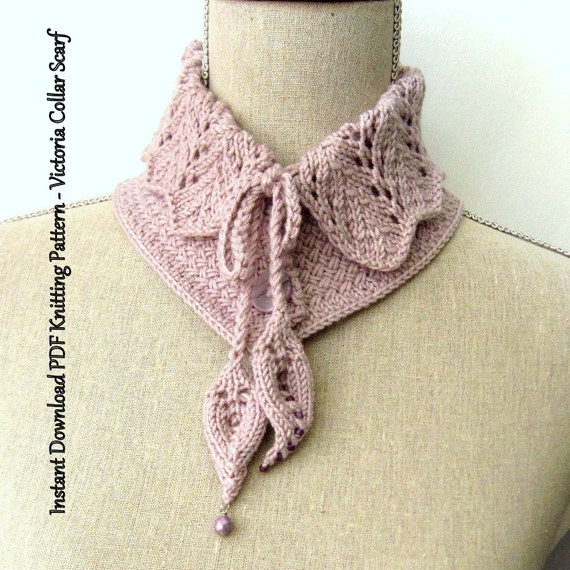 Scarf Knitting Pattern Instant Download Pdf Victoria Collar