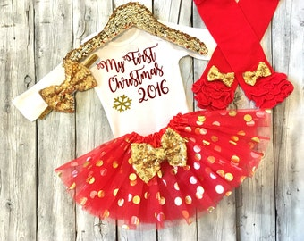 Baby girls 1st Christmas outfit, girls first Christmas, red gold, newborn 1st Christmas, Christmas 2016 outfit girls, baby girl Christmas