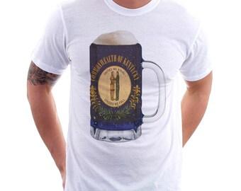 Kentucky State Flag Beer Mug Tee, Unisex, Home Tee, State Pride, State Fflag, Beer Tee, Beer T-Shirt, Beer Thinkers, Beer Lovers Tee