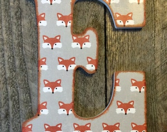 wooden letter decor foxes letter e only