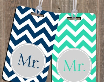 Luggage Tag - Mr. & Mr. - Newlyweds Wedding Shower Gift - PAIR of 2 Pack Luggage Tags - Custom Monogram Luggage Tag Set Mr. and Mr.