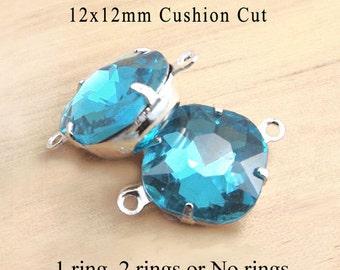 Aqua blue glass beads - 12x12mm cushion cut octagon rhinestones - earring drops or square pendants - one pair blue glass gems