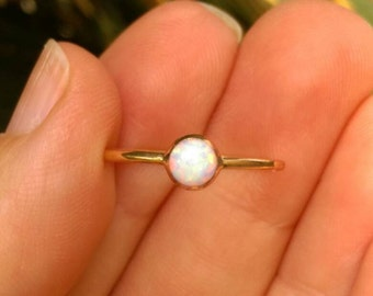 Opal gold ring, opal engagement ring, opal ring, gold stacking ring, Dainty Opal Ring, stacking opal ring, white opal ring, thin gold ring