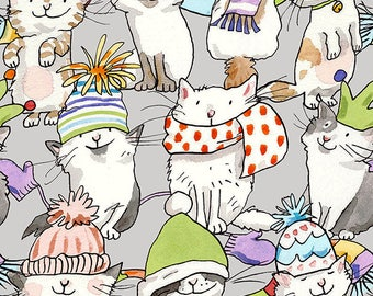 Knittens Kitten Light Taupe By Clothworks, Quilting Cotton Fabric, Cat Lady, Cat Lover, Pet Lover, Cat Wearing Hats And Scarves