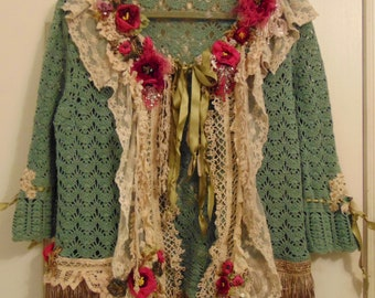 Romantic, Reworked Hand Crochet Cardigan Altered Couture, Tattered Silk Roses, Wearable Art  Size Medium