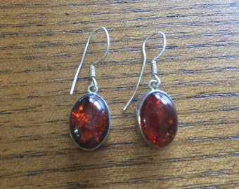 Amber Oval Earrings 925 Sterling Silver