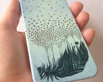 Feather phone case / Illustrated phone case / iPhone X / 8 / 8 Plus / 7 / 7 Plus / 6 / 6S / SE / 5 / 5S // Samsung G. S9/S7/S6/S6 Edge/S5