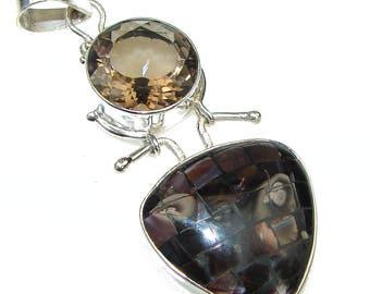 Rainbow Abalone, Smoky Quartz Sterling Silver Pendant - weight 11.40g - dim L- 2 1 2, W -1, T -1 4 inch - code 22-wrz-15-38