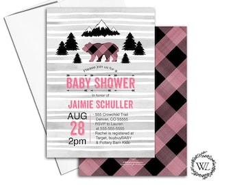 Woodland baby shower invitation girl, bear baby shower invitation rustic baby shower invite, black pink gray printable or printed - WLP00783