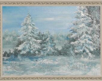 "Oil painting landscape ""Severe Winter"""