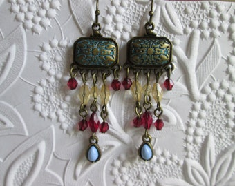 Funky colorful little boho earrings