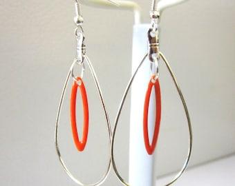 Silver And Orange Hoop Earrings
