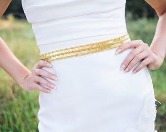 gold wedding belt, gold bridal sash , bridal beaded sash