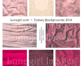 PINK BACKGROUNDS, digital collage sheet, Vintage Fabric Texture patterns, altered art atc cards Victorian rose silk shabby ephemera DOWNLOAD