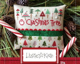 LIZZIE*KATE O Christmas Tree Kit cross stitch pattern INCLUDES fabric trim at thecottageneedle.com