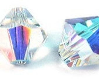 6 mm Swarovski bicone Crystal AB - Quantity 10